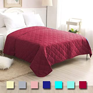 CottonTex Reversible Super Soft Bedspread Mulberry,Full/Queen Size 86x86 Inches Diamond Pattern Lightweight Hypoallergenic Microfiber Bed Coverlet Alternative Quilt