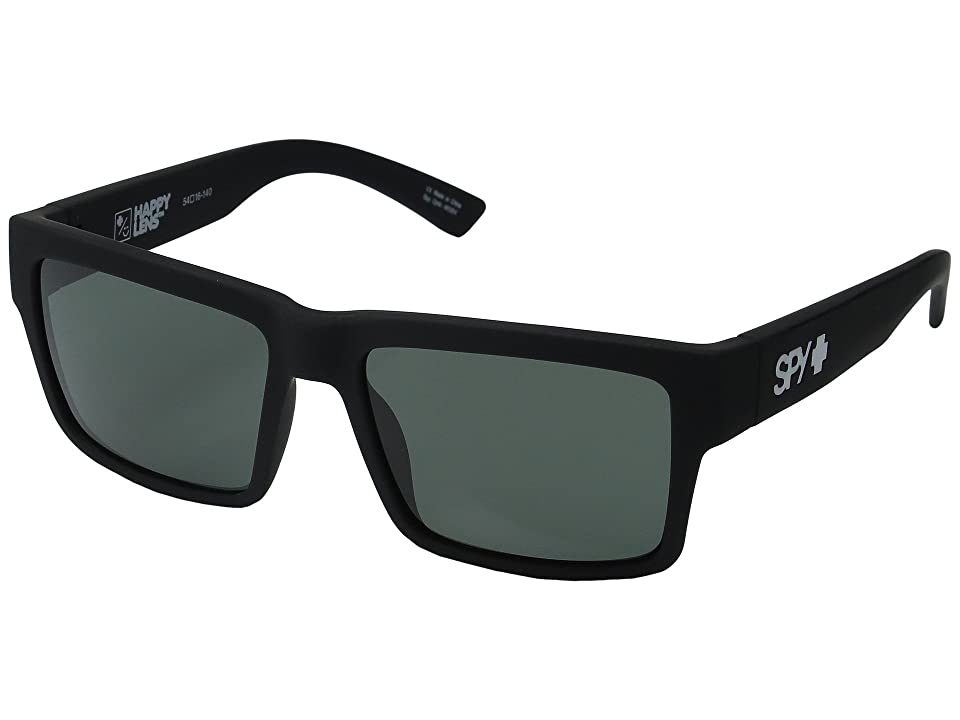 Spy Optic Montana (Soft Matte Black/Happy Gray/Green) Plastic Frame Sport Sunglasses