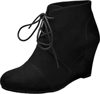 Women's Wide Width Wedge Boots - Lace Up Low Heeled Ankle Booties w/Round Closed Toe Rubber Sole Memory Foam Insole.