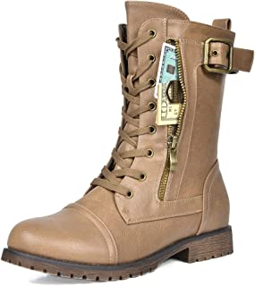 DREAM PAIRS Women's Winter Lace up Mid Calf Combat Boots