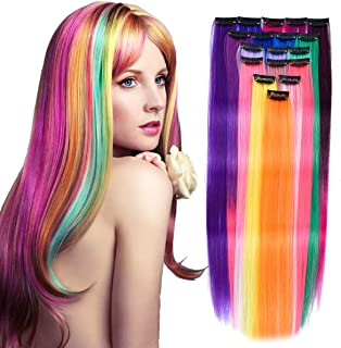YAYAFAIRY Colorful Hair Extensions for Girls 18 Pieces Rainbow Color Hair Extensions for Kids