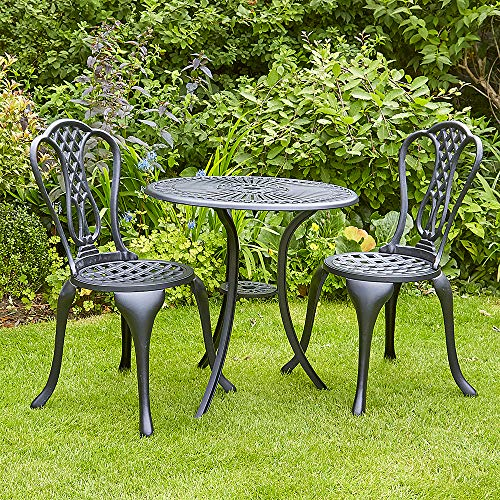 BFW Chichester Black Metal Bistro Patio Set Table and 2 Chairs