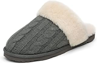 Sponsored Ad - DREAM PAIRS Women's Cable Knit Faux Fur Mules Comfy Slippers