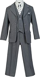 Banhada Toddler Boys Formal 6 Piece Pinstripe Suit Set with Matching Necktie and Handkerchief