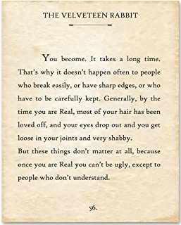 The Velveteen Rabbit - You Become - 11x14 Unframed Typography Book Page Print - Great Inspirational Gift and Decor for Nursery, Children's Room and Playroom Under $15