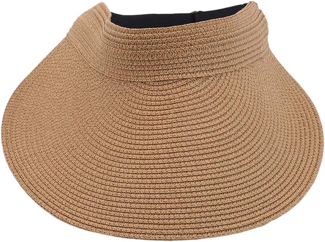 Underleaf Simplicity Women's Roll Up Striped/Ribbed Wide Brim Straw Sun Visor