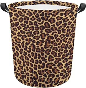 Laundry Hamper Storage Bins Collapsible Cheetah Leopard Brown Basket for Dirty Clothes Kids Nursery Decor Toys Organizer Bathroom Bedroom College Dorm