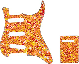 Musiclily SSS 11 Holes Strat Electric Guitar Pickguard and BackPlate Set for Fender US/Mexico Made Standard Stratocaster Modern Style Guitar Parts,4Ply Shell Red Yellow