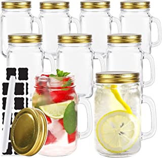 16 oz Glass Mason Jars With Handle, 500 ml Drinking Mugs with Regular Mouth Lids,Set of 9, Perfect Drinking Jars for Jam, ...