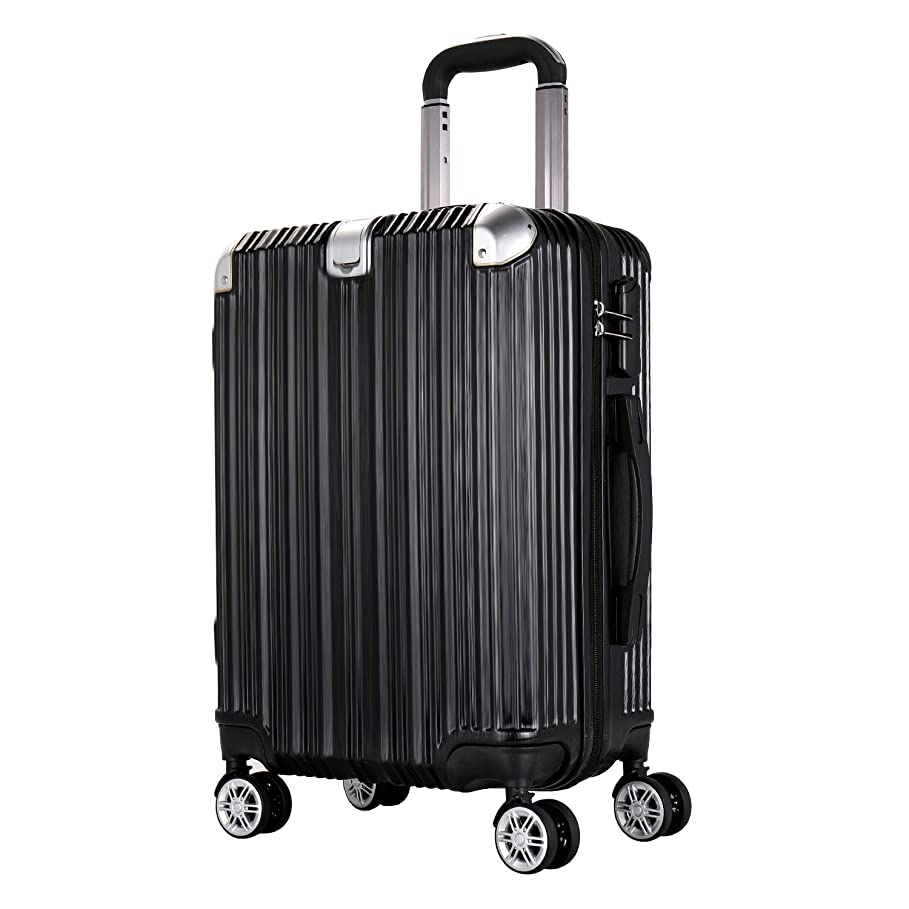 暗殺するセットアップグレートオークWingスーツケース 光沢のある起毛テクスチャ軽量 静音PC + ABS 20 in 大型 容量ファスナータイプ 機内持ち込み