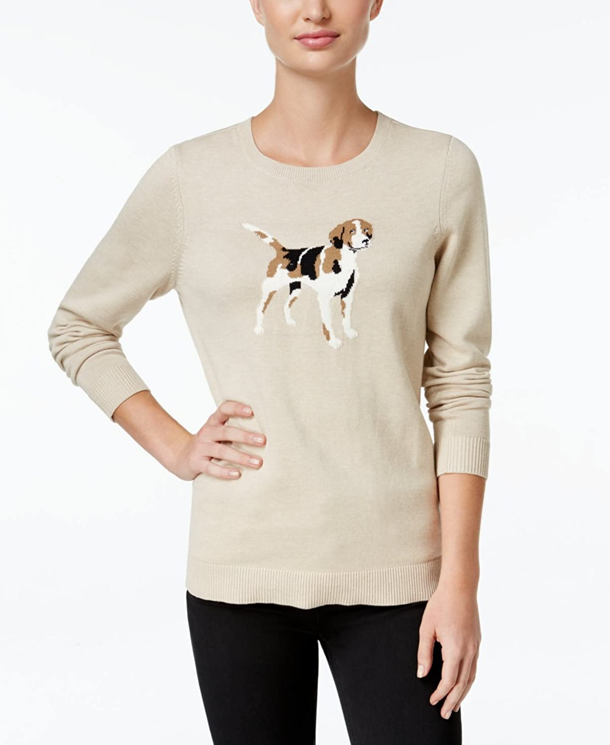 Charter Club Womens Dog Graphic Knit Sweater