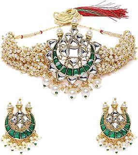 Zaveri Pearls Green Meenakari Clustered Pearls Patta Kundan Choker Necklace & Earring Set For Women-ZPFK10236