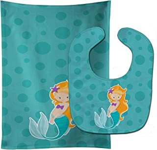 Caroline's Treasures Beach Mermaid Ginger Baby Bib & Burp Cloth, Multicolor, Large