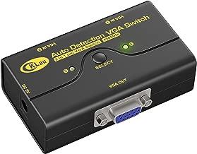 CKLau VGA Switch Box 450MHz 2 Port SVGA Video Switcher Sharing 2 PCs to 1 Monitor/Laptop/Projector/TV