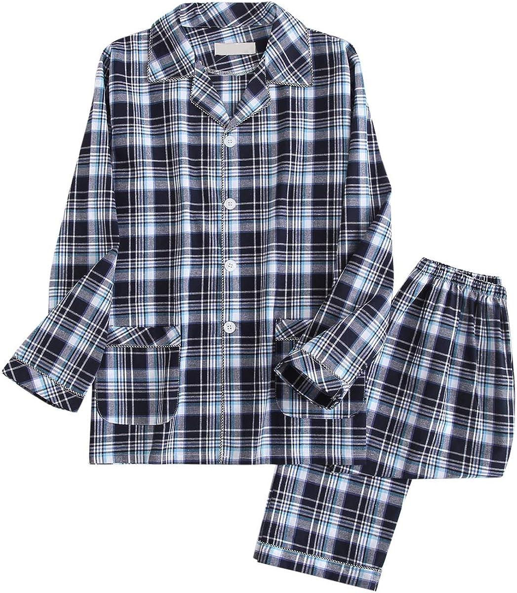 Mens Plaid Pajamas Set Cotton Woven Sleepwear 2 Piece Button Down Top Pants