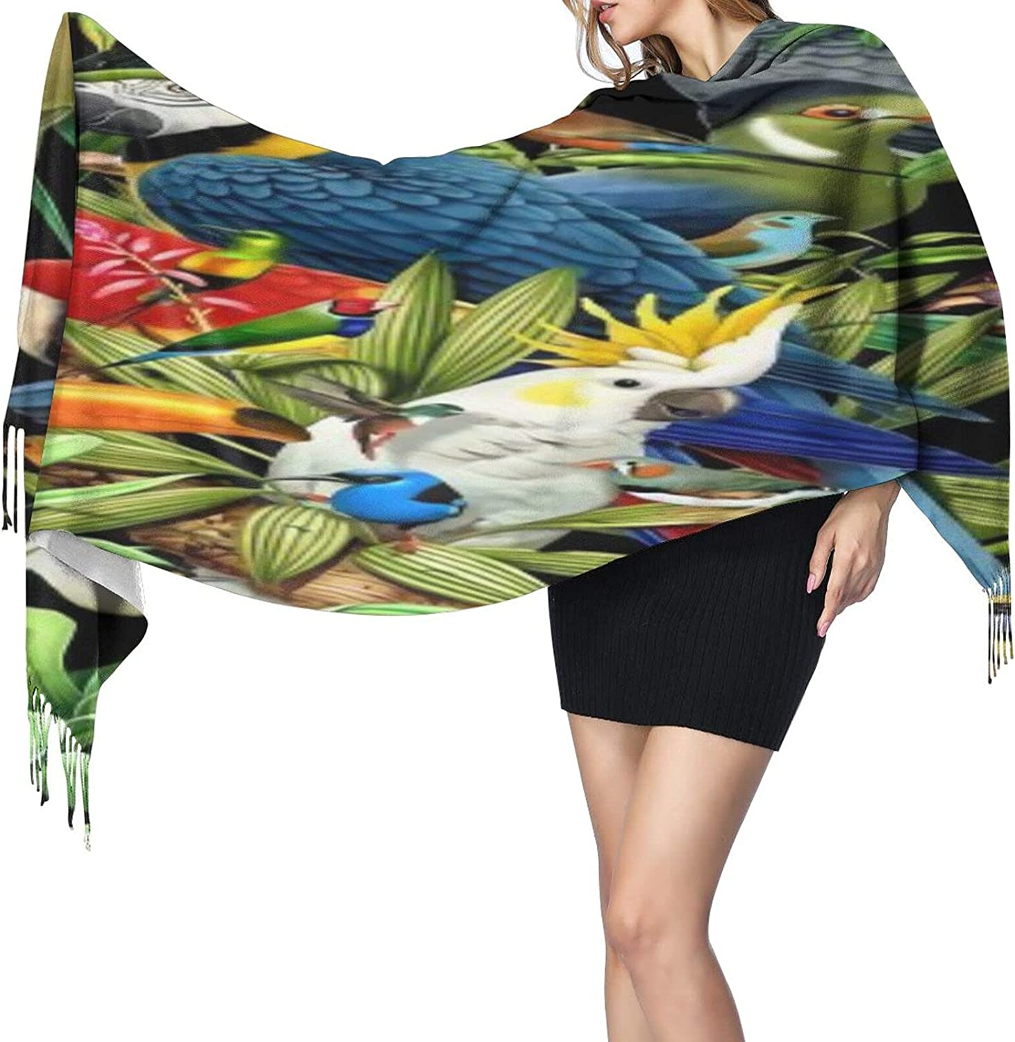 Cashmere fringed scarf Parrot kingdom winter extra large scarf
