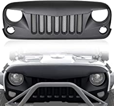 IPARTS Front Matte Black Eagle Eye Grille Grid Grill with Insert Mesh for Jeep Wrangler 2007 2008 2009 2010 2011 2012 2013 2014 2015 2016 2017 Rubicon Sahara Sport JK JKU (Black)