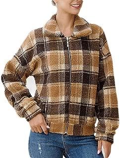 Macondoo Women Plaid Fleece Zipper Casual Lapel Neck Wool Blend Pea Coat Jacket