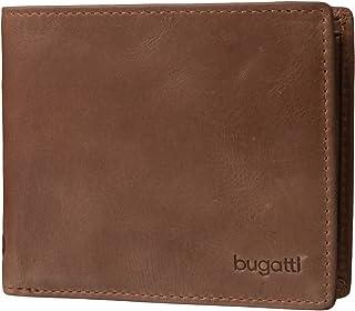 Bugatti Volo Geldbeutel Männer Leder - Geldbörse Herren Cognac - Portmonaise Portemonnaie Portmonee Brieftasche Wallet Ledergeldbeutel