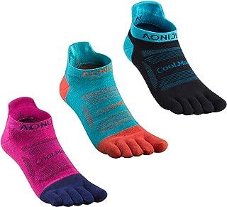 AONIJIE Women's Five Finger Toe Socks Cotton Athletic Wicking Crew Sock (Pack of 3)