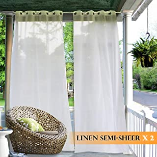 RYB HOME Outdoor Curtains Christmas - 2 Panels Waterproof Curtain Sheer Privacy Linen Look Volie Drapes for Porch Pavilion Garden Lawn Corridor Sun Room Decor, 2 Tiebacks Includes, 54 x 108 inch Long
