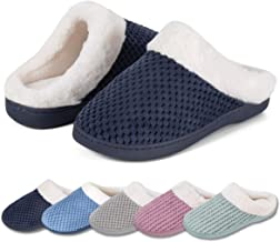 Women's Memory Foam Slippers Comfort Wool-Like Plush Fleece Lined House Shoes for Indoor & Outdoor