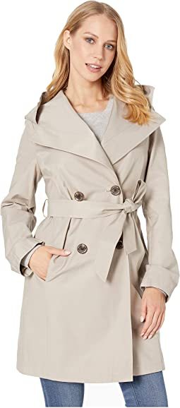 Double Breasted Wrap Trench w/ Oversized Hood