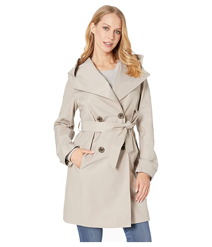 Sam Edelman Double Breasted Wrap Trench w/ Oversized Hood (Sand) Women