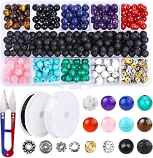 400 Pcs Chakra Beads 8 mm Lava Stone Beads, YBLNTEK Volcanic Gemstone Beads Spacer Beads with 1 Beading Scissors and 2 Roll Elastic Stretch String for Essential Oil Bracelet Jewelry Making
