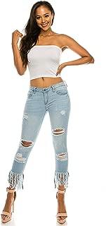 AP Blue Aphrodite Cropped Skinny Jeans for Women - Womens Stretch Denim Jeans