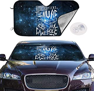 Windshield Sun Shade Supernatural Driver Picks The Music Car Windshield, Sun Shade To Keep Vehicle Cool Protect Your Car From Sun Heat & Glare Best UV Ray Visor Protector (Size: 51
