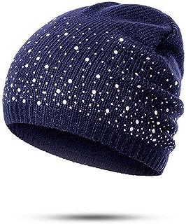 Women Knitted Cotton Stretch Cap Diamonds Glitter Beanies Hats Autumn Winter Warm Bonnet Hat Christmas Unique