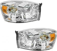 Headlights Headlamps w/Chrome Bezel Pair Set for 06-08 Dodge Ram Pickup Truck