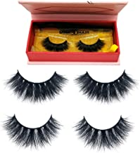 UBEIYI 3D Mink Lashes Hand-made Dramatic Makeup Strip Lashes 100% Fur Fake Eyelashes Thick Crisscross Deluxe False Lashes Black Nature Fluffy Long Soft 2 Pair Gift Package