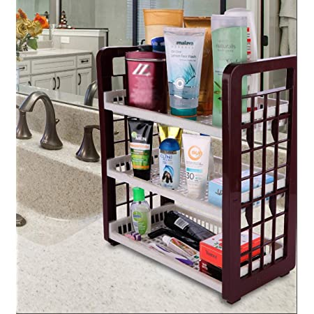 SAURA   3-Layer Multipurpose Utility Racks  Kitchen Storage   Easy Assembled   Portable   Light Weight   Easy Movement   Storage Multi Things   (261090-3 Tier Rack-Brown)
