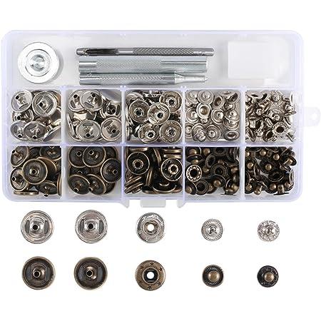 10 Ensembles 15 mm 4 Partie de petits BOUTONS PRESSION ARGENT Arrière Snap Fasteners avec outil à main