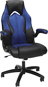 OFM Essentials Collection High-Back Racing Style Bonded Leather Gaming Chair, in Blue (ESS-3086-BLU)