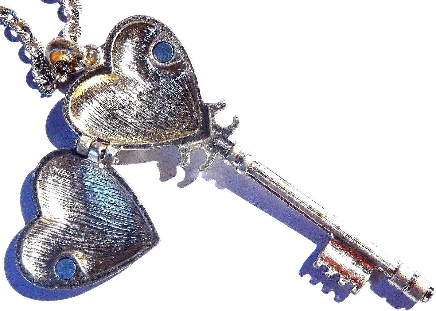 Antiqued Brassy Skeleton Key Shaped Heart Locket Pendant on Long Chain Necklace