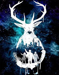 White Deer-5D Diamond Painting Needlework Mosaic DIY Cross Stitch Kit Embroidery for Bedroom Decor Gifts(Full Drill)12X16Inch