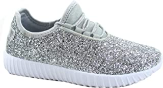 FZ-Remy-18 Women's Fahsion Sparkling Glitter Lace Up Light Weight Sneaker Shoes (Silver, Numeric_5_Point_5)