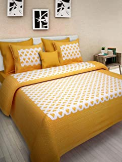 UNIBLISS 100% Cotton Rajasthani Jaipuri Traditional King Size Double Bed Bedsheet with 2 Pillow Covers - (Jaipuri_Bed13)