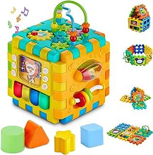 INvench Cube d'Activités Ludiques Jouet Educatif - 6 dans 1 Centre D'activités Réveils éducatifs Formes et Couleurs Jouets...