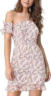 Sundresses for Women Summer Beach Floral Halter Neck Dress