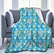 Merry Christmas,Christmas Blankets,Throw Blankets,Yellow and Blue,Funny Cartoon Hippopotamus with Stars and Cute Daisy Flowers,Light Blue White Yellow-(91