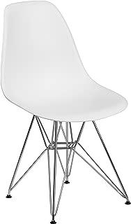 Flash Furniture Elon Series White Plastic Chair with Chrome Base