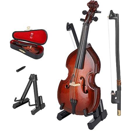 Amazon Com Seawoo Miniatura De Madera Con Soporte Y Arco Y Estuche Réplica De Mini Instrumento Musical Coleccionable En Miniatura Para Casa De Muñecas Toys Games