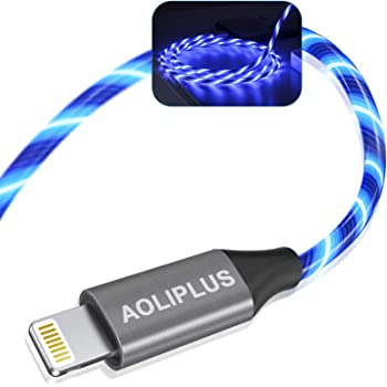 iPhone Charger, AOLIPLUS 6FT LED Lightning Cable [Apple MFi Certified ] USB Charging/Sync Lightning Cord Compatible with iPhone SE 12 11 11 Pro 11 Pro Max Xs MAX XR X 8 7 6S 6 5, iPad and More - Blue