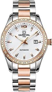 Womens Luxury Calender Rhinestone Automatic Mechanical Stainless Steel Luminous Waterproof Watches