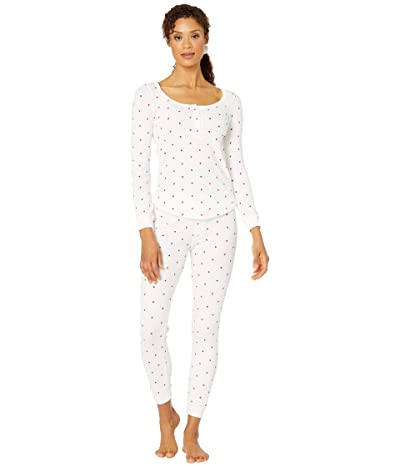Plush Thermal Heart Pajama + Scrunchie Set (White/Red) Women