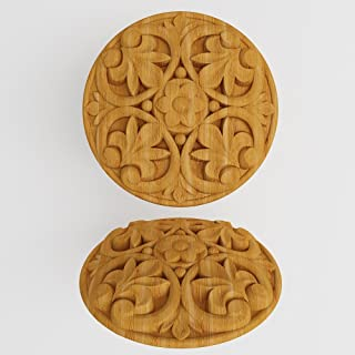 Furniture Wood Appliques Onlay Wood carved rosettes Applique furniture decor DIY Furniture Trim Supplies wall ornaments pediments